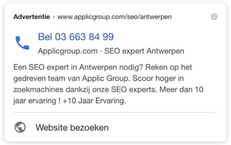 SERP feature - Call only advertentie