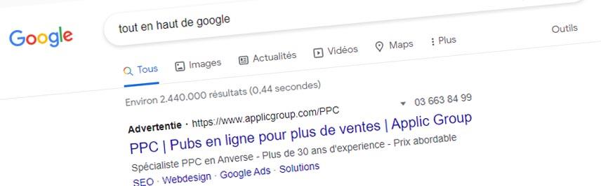 Tout en haut de Google