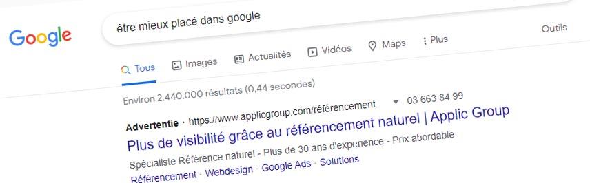 Etre mieux placé dans Google